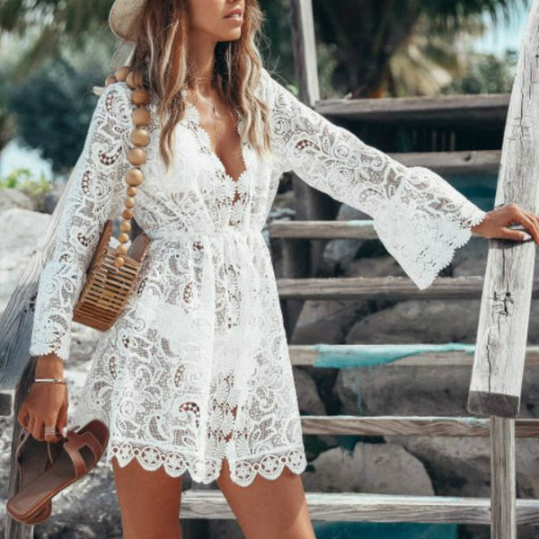 Beach Wear White Lace Hollow Out Embroidery Lace Summer Dress Women Sexy Cardigan Loose Short Dress Elegant Party Mini Dress