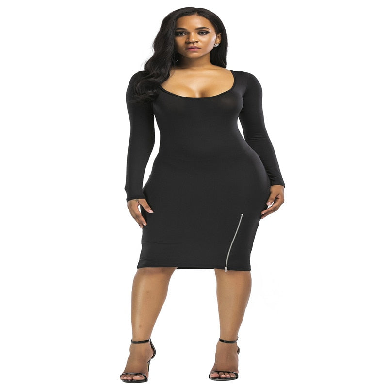 New popular European and American fashion personality solid color sexy tight-fitting zipper decorative long-sleeved ladies dress