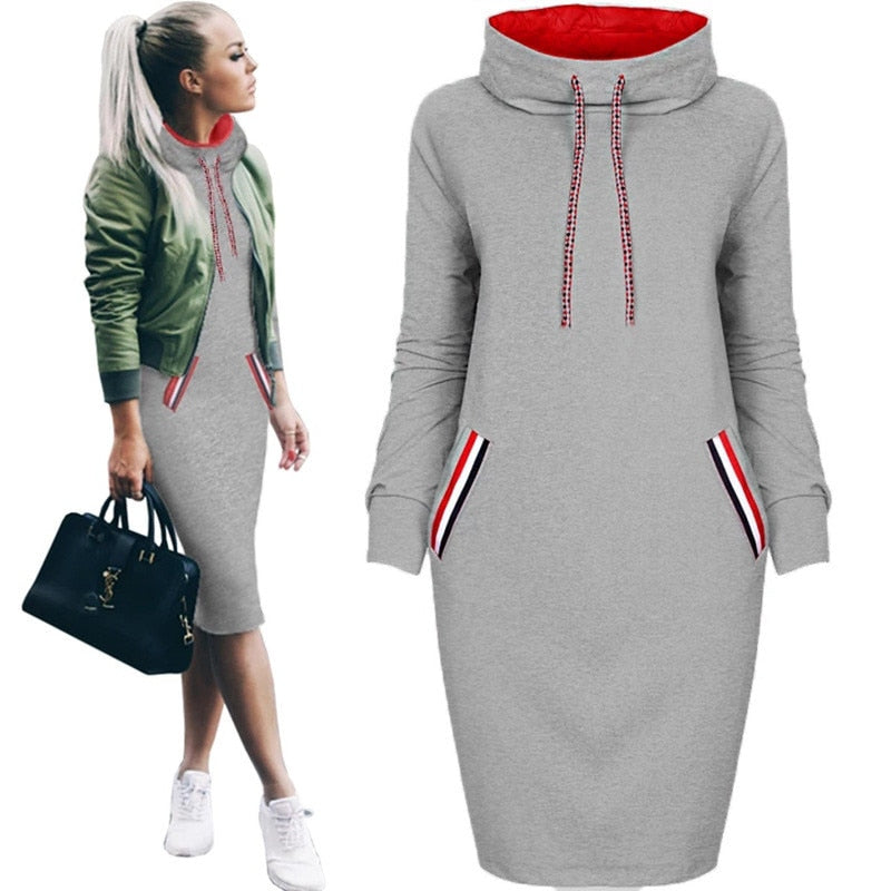 Oufisun Women Autumn Winter Midi Dress Slim Casual Solid Long Sleeve With Pocket Hoodie Hoody Dresses S-3XL  Bodycon Warm Dress