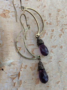 Open Moon Earrings with Purple Glass Briolettes - Minxes' Trinkets