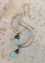 Load image into Gallery viewer, Open Moon Earrings with Chalcedony Gemstone Briolettes - Minxes' Trinkets