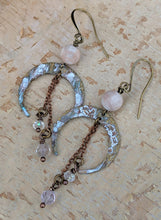 Load image into Gallery viewer, Crescent Moon Earrings with Pink Fluorite - Minxes' Trinkets