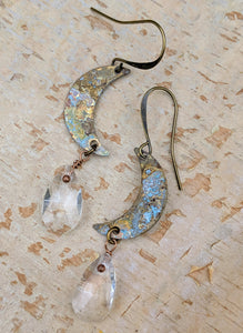 Petite Moon Earrings with Faceted Clear Briolettes