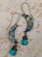 Load image into Gallery viewer, Petite Moon Earrings with Faceted Jade Green Briolettes - Minxes' Trinkets