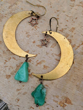 Load image into Gallery viewer, Brass Moon with Chrysoprase Earrings - Minxes' Trinkets