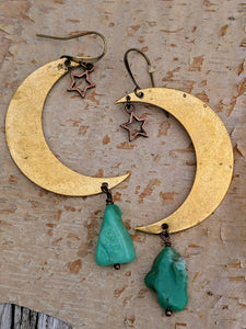 Brass Moon with Chrysoprase Earrings