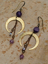 Load image into Gallery viewer, Crescent Moon Earrings with Chevron Amethyst and Purple Flourite