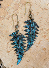 Load image into Gallery viewer, Verdigris Fall Fern Earrings