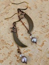 Load image into Gallery viewer, Medium Moon and Star Earrings with Freshwater Pearls - Minxes' Trinkets
