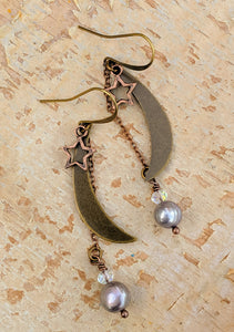 Medium Moon and Star Earrings with Freshwater Pearls