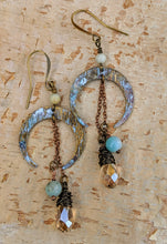Load image into Gallery viewer, Crescent Moon Earrings with Amazonite - Minxes' Trinkets