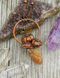 Copper Electroformed Mini Pumpkin with Spirit Quartz Necklace 10 - Minxes' Trinkets