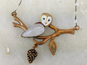 Electroformed Barn Owl on Winter Branch - Moonstone - Minxes' Trinkets