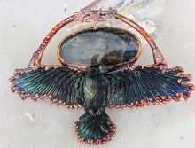 Load image into Gallery viewer, Electroformed Soaring Raven with Labradorite Necklace - Minxes' Trinkets