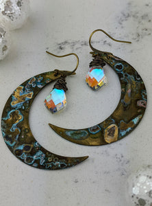 Verdigris Moon Earrings with Kite-shaped Mystic Quartz - Minxes' Trinkets