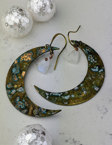 Verdigris Moon Earrings with Moonstones - Minxes' Trinkets