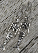 Load image into Gallery viewer, Skeleton Mermaid Earrings with Herkimer Diamonds - Minxes' Trinkets