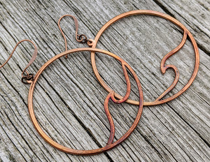 Ocean Wave Copper Electroformed Earrings - Minxes' Trinkets