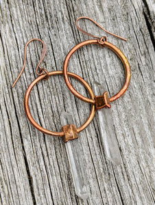 Blades of Light Quartz Electroformed Hoop Earrings II - Minxes' Trinkets