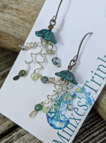 Jellyfish Earrings - Teal - Minxes' Trinkets
