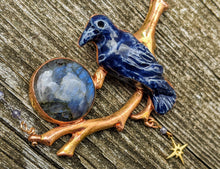 Load image into Gallery viewer, Midnight Blue Raven and Labradorite Moon Copper Electroformed Necklace - Minxes' Trinkets