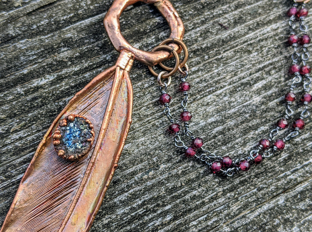 Real Copper Electroformed Feather - Grey Druzy - Minxes' Trinkets