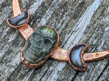 Load image into Gallery viewer, Copper Electroformed Labradorite Skull and Grey Moonstone Moon Necklace - Minxes' Trinkets