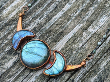 Load image into Gallery viewer, Copper Electroformed Triple Goddess Moon Necklace - Blue Labradorite - Minxes' Trinkets