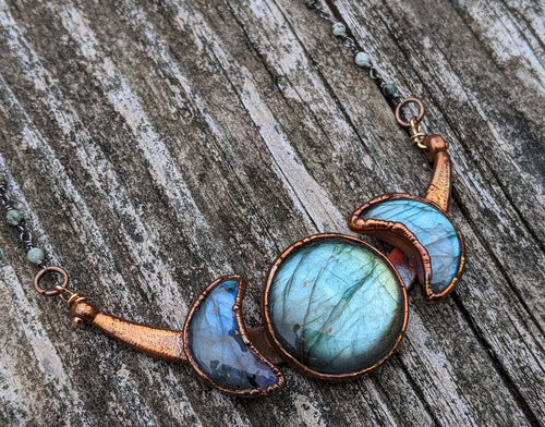 Copper Electroformed Triple Goddess Moon Necklace - Blue Labradorite - Minxes' Trinkets