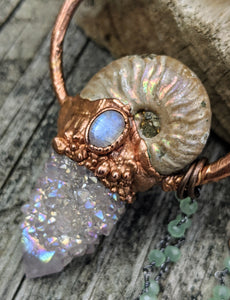 Mermaid Amulet - Ammonite and Aura-coated Spirit Quartz and Moonstone and Amethyst - Minxes' Trinkets