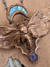 Load image into Gallery viewer, Copper Electroformed Cicada - Labradorite Crescent Moon and Amethyst - Minxes' Trinkets