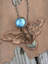 Load image into Gallery viewer, Copper Electroformed Cicada - Full and Crescent Moon Labradorite - Minxes' Trinkets
