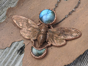 Copper Electroformed Cicada - Full and Crescent Moon Labradorite - Minxes' Trinkets