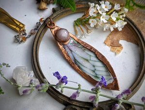 Relic Fairy Wing Rosary Necklace - Resin and Copper Electroformed 11