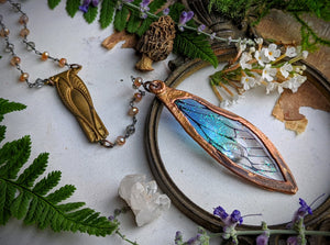 Relic Fairy Wing Rosary Necklace - Resin and Copper Electroformed 15