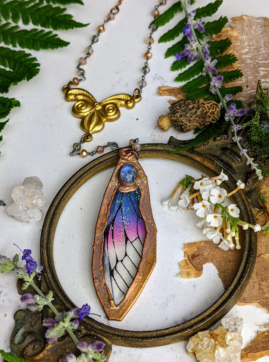 Relic Fairy Wing Rosary Necklace - Resin and Copper Electroformed 18