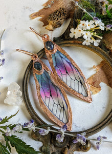 Relic Fairy Wing Earrings - Resin and Copper Electroformed 1