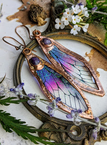 Relic Fairy Wing Earrings - Resin and Copper Electroformed 2