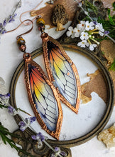 Load image into Gallery viewer, Relic Fairy Wing Earrings - Resin and Copper Electroformed 4