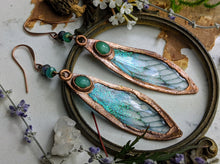 Load image into Gallery viewer, Relic Fairy Wing Earrings - Resin and Copper Electroformed 7