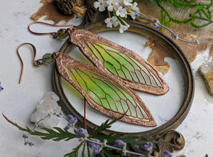Carnival Row Fairy Wing Copper Electroformed Earrings - 9