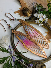 Load image into Gallery viewer, Carnival Row Fairy Wing Copper Electroformed Earrings - 10