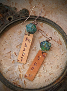 Hand Stamped Earrings - Plant & Grow