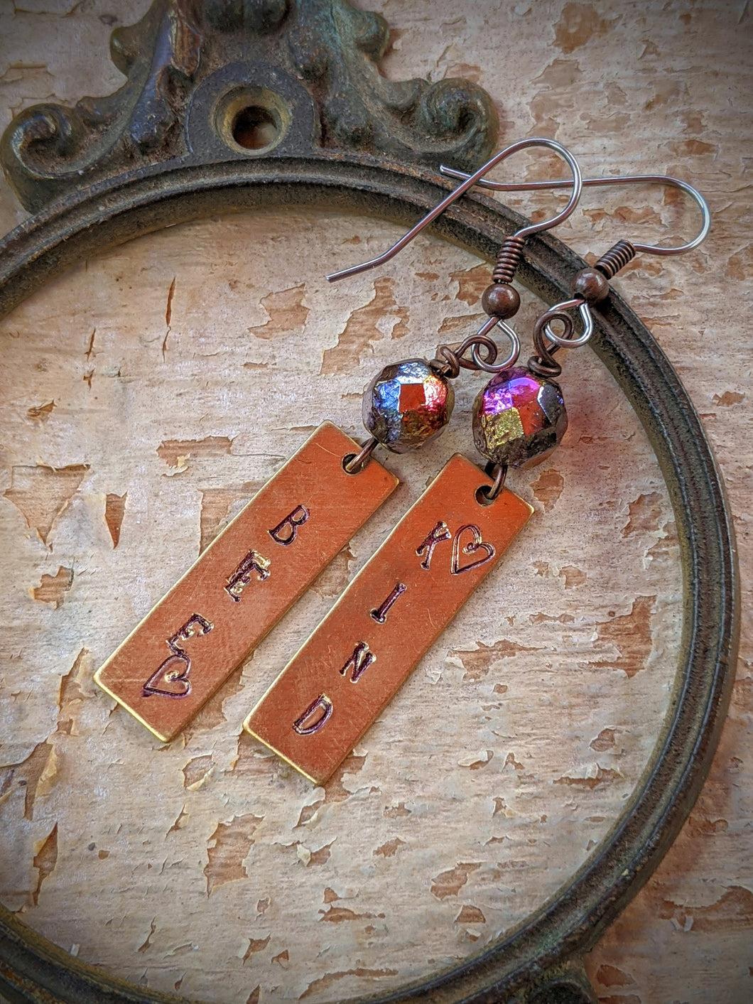 Hand Stamped Earrings - Bee Kind