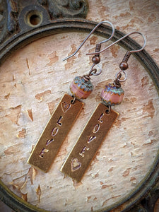 Hand Stamped Earrings - LOVE