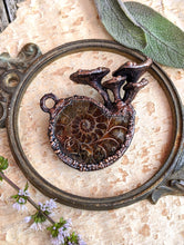 Load image into Gallery viewer, Ammonite Encrusted with Mushrooms Copper Electroformed Statement Necklace