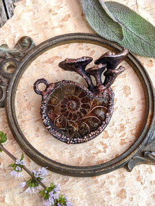 Ammonite Encrusted with Mushrooms Copper Electroformed Statement Necklace
