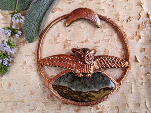 Landscape Jasper with Owl Electroformed Necklace