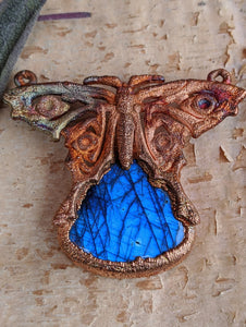 Labradorite Blue Morpho Butterfly - Copper Electroformed Necklace