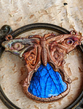 Load image into Gallery viewer, Labradorite Blue Morpho Butterfly - Copper Electroformed Necklace